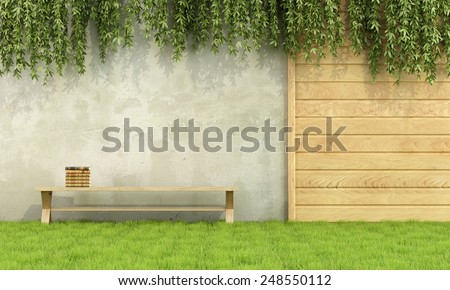 Wooden bench with books in a garden - 3D Rendering - stock photo