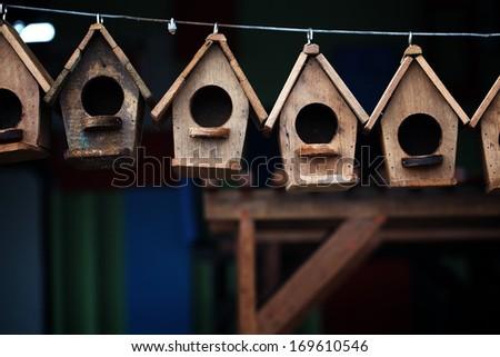 wooden bird house. - stock photo