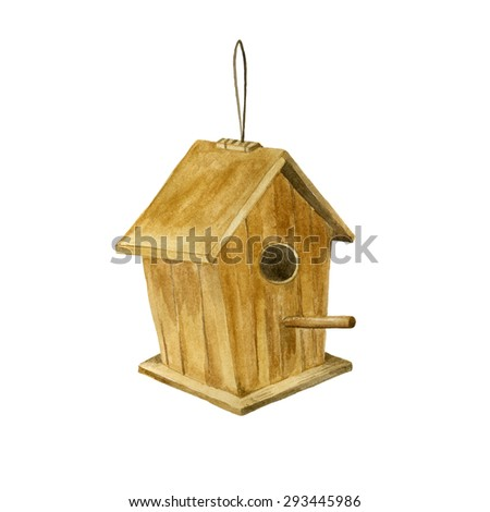 Wooden birdhouse on a white background. Watercolor hand painted illustration. - stock photo