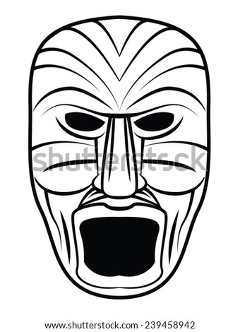 Wooden Black and White Mask - stock photo