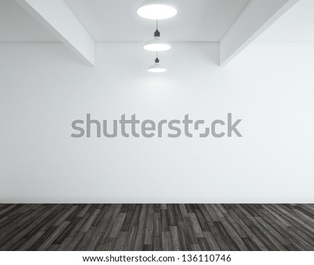 wooden black parquet in room and lamp - stock photo