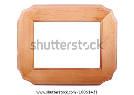 Wooden blank frame isolated over a white background - stock photo