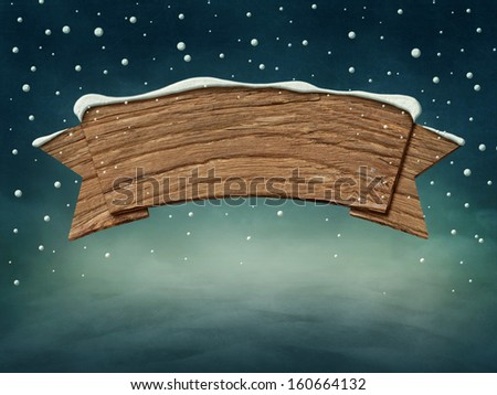 Wooden blank sign in snow - stock photo