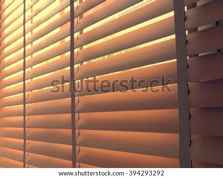 wooden blinds - stock photo