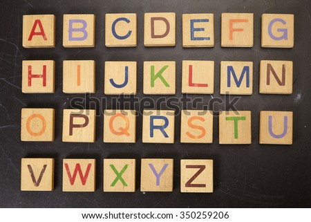 wooden block with alphabet A to Z - stock photo