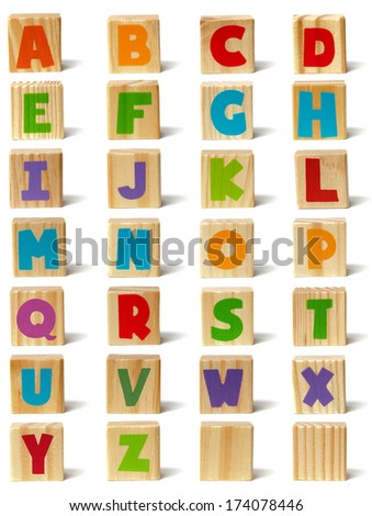 Wooden block with letters A-Z and two blank ones. Ready for cut and paste. - stock photo