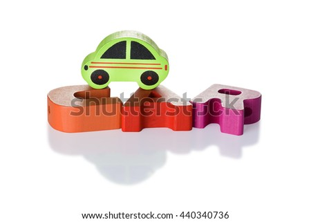 Wooden blocks arranged in the word  car and Wooden car - isolated on white background with clipping path - stock photo