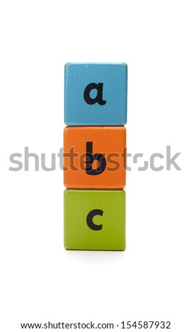 Wooden blocks isolated on white background - stock photo