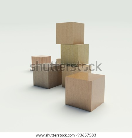 Wooden blocks on a white background - stock photo