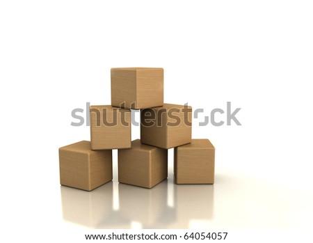 Wooden blocks on white background - stock photo