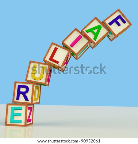 Wooden Blocks Spelling Failure Falling Over As Symbol for Rejection And Malfunction - stock photo