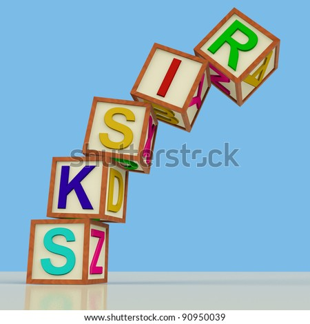 Wooden Blocks Spelling Risks Falling Over As Symbol for Danger Or Chance - stock photo