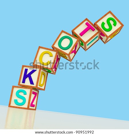 Wooden Blocks Spelling Stocks Falling Over As Symbol for Shares In Trouble - stock photo