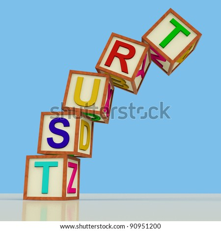 Wooden Blocks Spelling Trust Falling Over As Symbol for Lack Of Confidence - stock photo