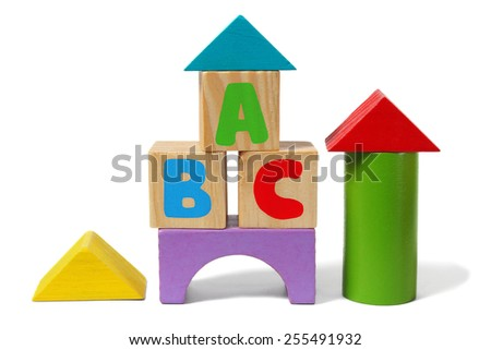 Wooden blocks with letters ABC isolated on white background - stock photo