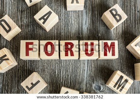 Wooden Blocks with the text: Forum - stock photo