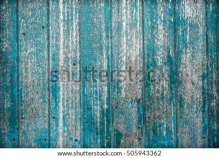Wooden blue paint background.