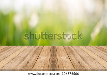 Wooden board empty table in front of blurred background. Perspective grey wood over blur trees in forest - can be used for display or montage your products. spring season. vintage filtered image. - stock photo