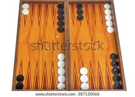 Wooden board for playing backgammon game with pools and dice - stock photo
