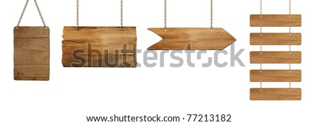 wooden board hanging on white - stock photo