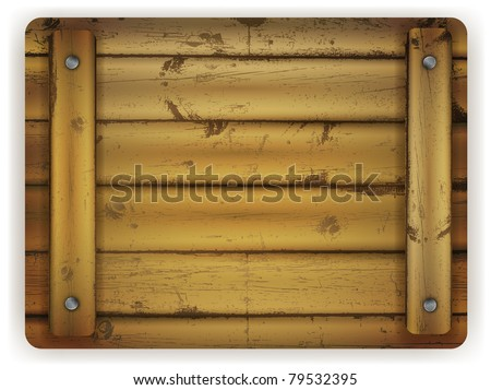 wooden board with metal nails over white background