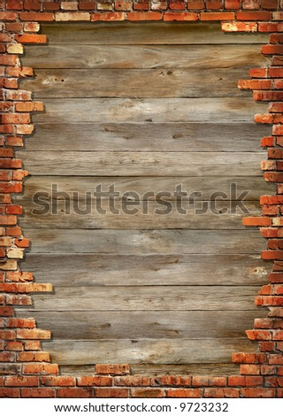 Wooden boards background texture with brick wall framing - stock photo
