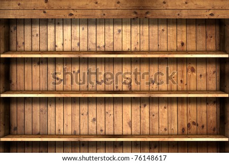 Wooden book Shelf - stock photo