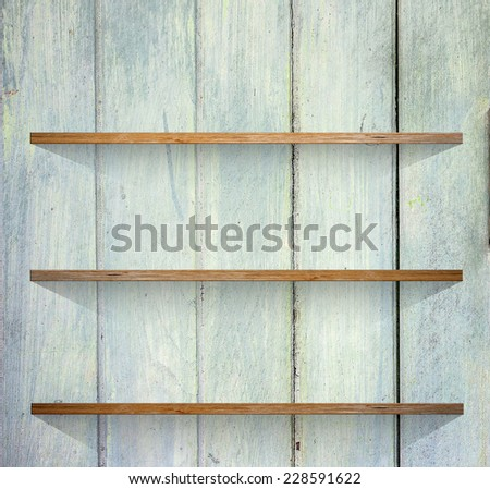 Wooden book Shelf background - stock photo
