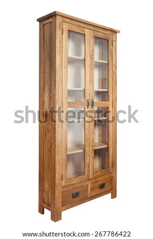 Wooden bookcase isolated on white background - stock photo