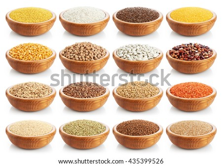 Wooden bowl with porridge, cereals, lentils, peas and beans isolated on white background. Collection. - stock photo