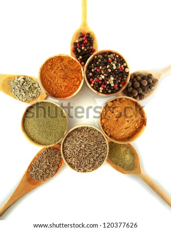wooden bowls and spoons with spices isolated on white - stock photo
