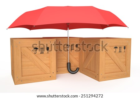 wooden box covered by red umbrella isolated on white background - stock photo