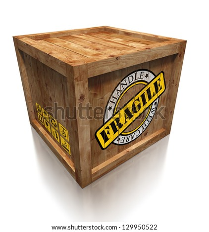 wooden box crate with grunge fragile symbol. clipping path included - stock photo