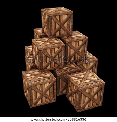 Wooden box. 3d render High resolution  - stock photo