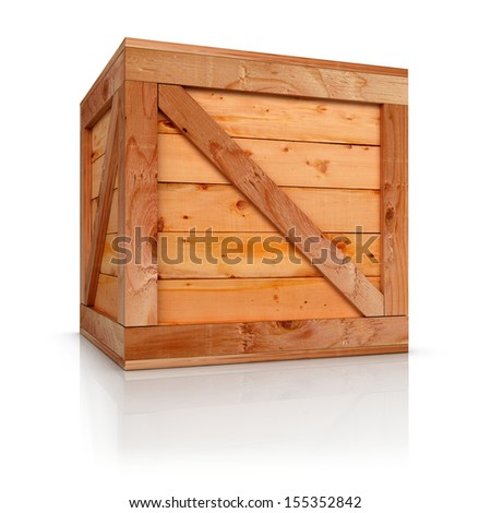 Wooden box 3d rendered. Isolate on white background - stock photo