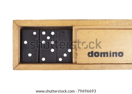 wooden box domino, A wooden box of domino with domino game inside. - stock photo