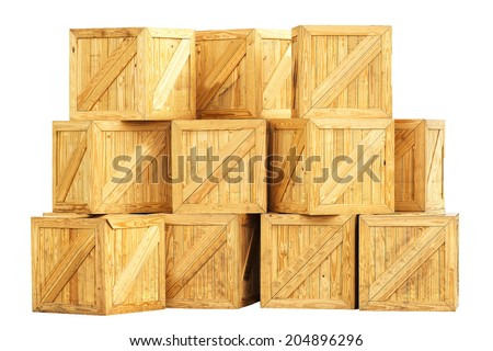 Wooden box export pallet shipping cube postal deliver old ship crate shipment freight plank pack box protection illustration transport wood cargo isolated on white background with clipping path. - stock photo