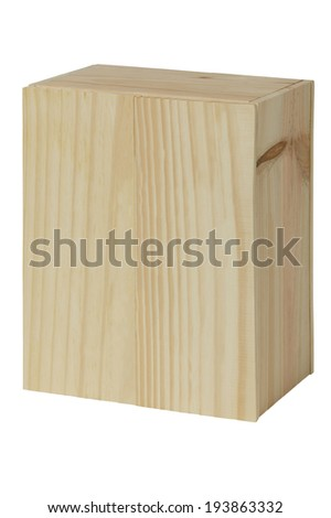 Wooden box for bottles of wine isolated on white. Vertical - stock photo