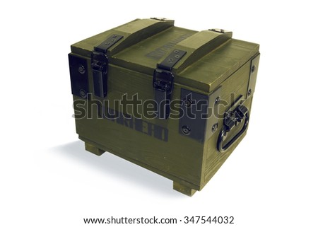 Wooden box for warheads, belonging to the army - stock photo