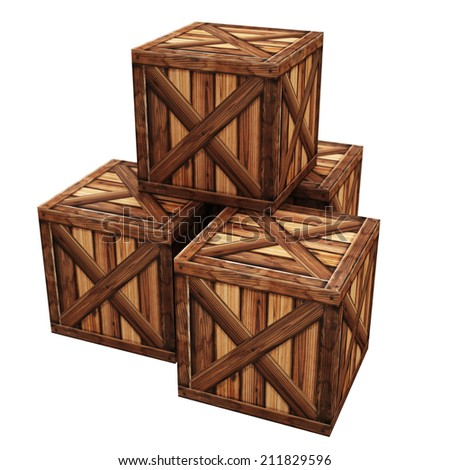 Wooden box isolated on white background 3d render High resolution  - stock photo