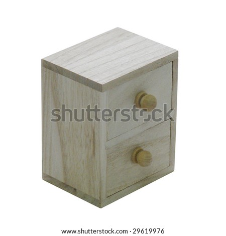 wooden box on isolated white background - stock photo