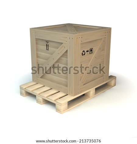 wooden box on palette - stock photo