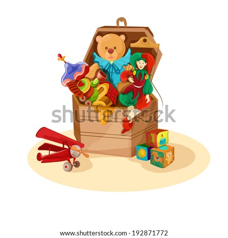 Wooden box or chest with retro toys of airplane blocks puppet teddy bear poster  illustration - stock photo