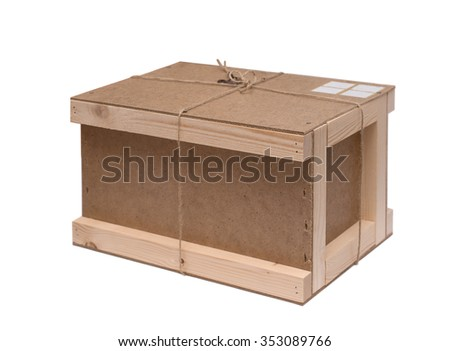 wooden box to send e-mail on a white background