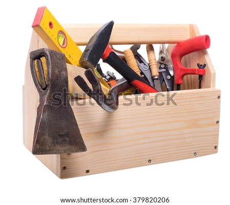 Wooden box with a carpenter's tool. Isolated. A series of images.