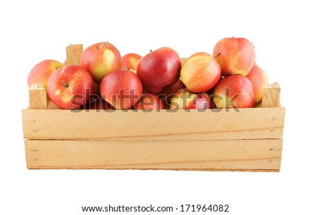 Wooden box with apples isolated on white background  - stock photo