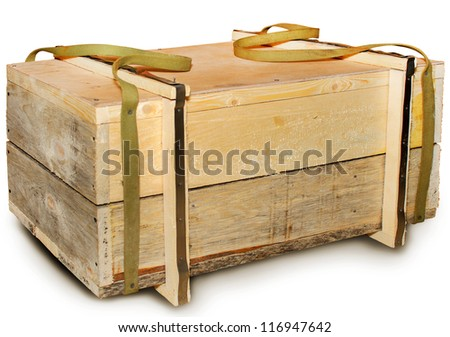 Wooden box with handles - stock photo