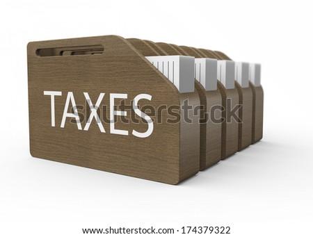 Wooden box with taxes as a concept - stock photo