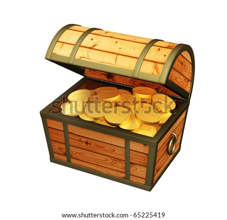 Wooden box with treasures. Isolated over white
