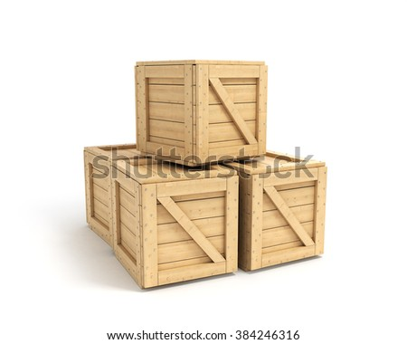 wooden boxes isolated on white - stock photo